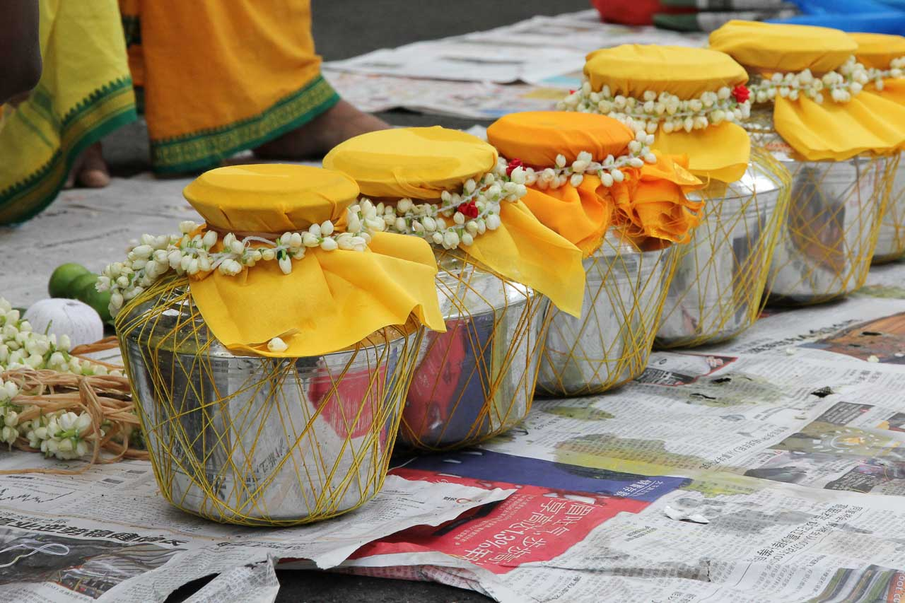 Urns of Milk with yellow fabric and flower decoration, ready for the pilgrimage