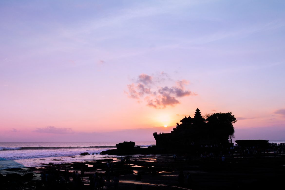 Silhouette of Tanah Lot, Bali at sunset