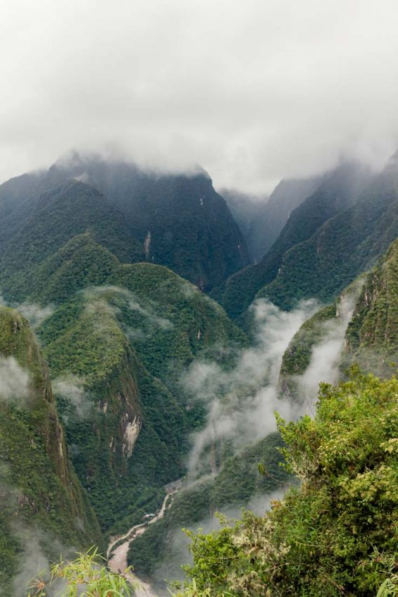 View of the Urubamba River snakes its way between the steep Andes