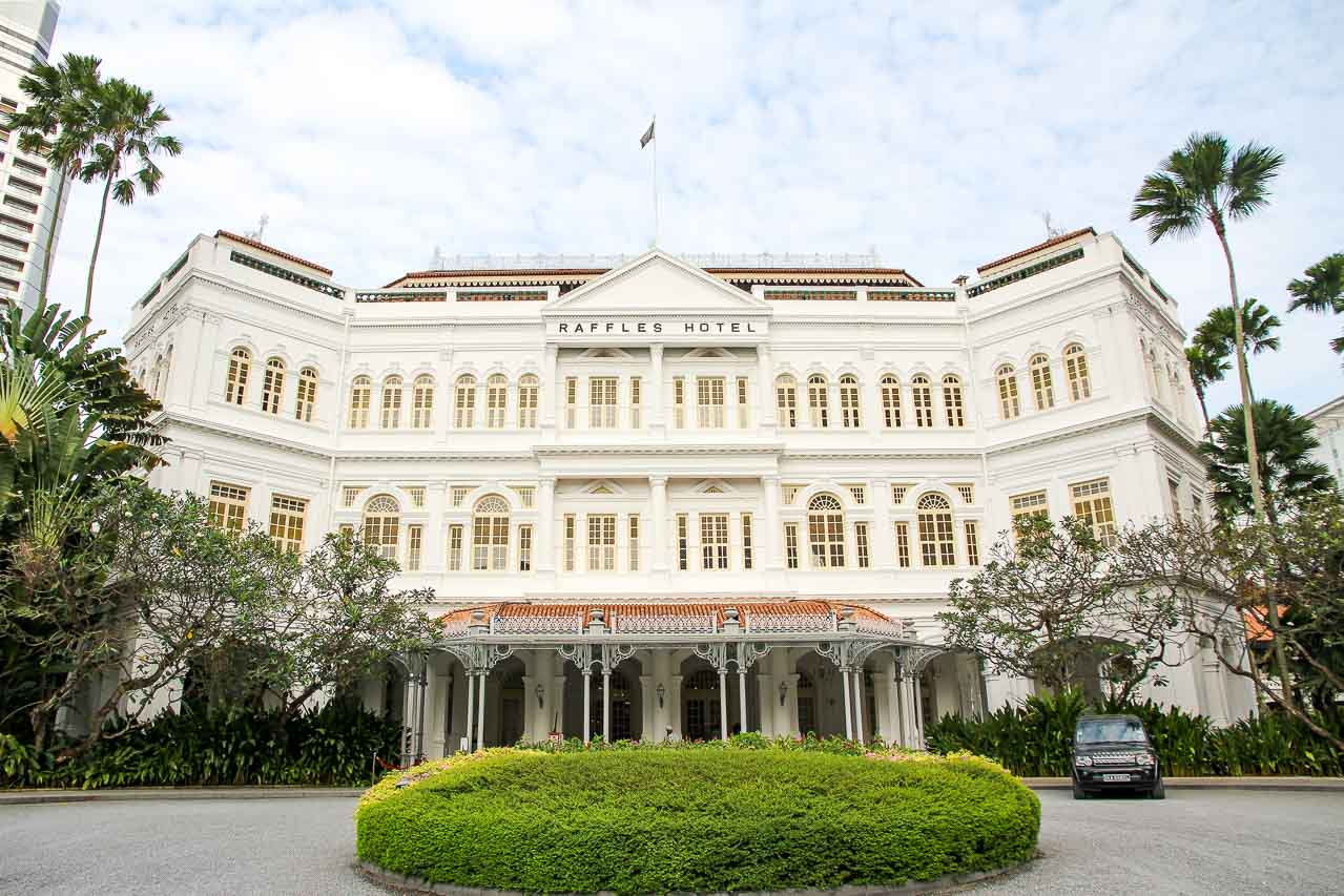 Front facade of grand hotel taken from circular driveway