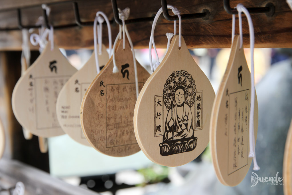 Ema, wooden tags purchased at Shinto shrines for leaving wishes