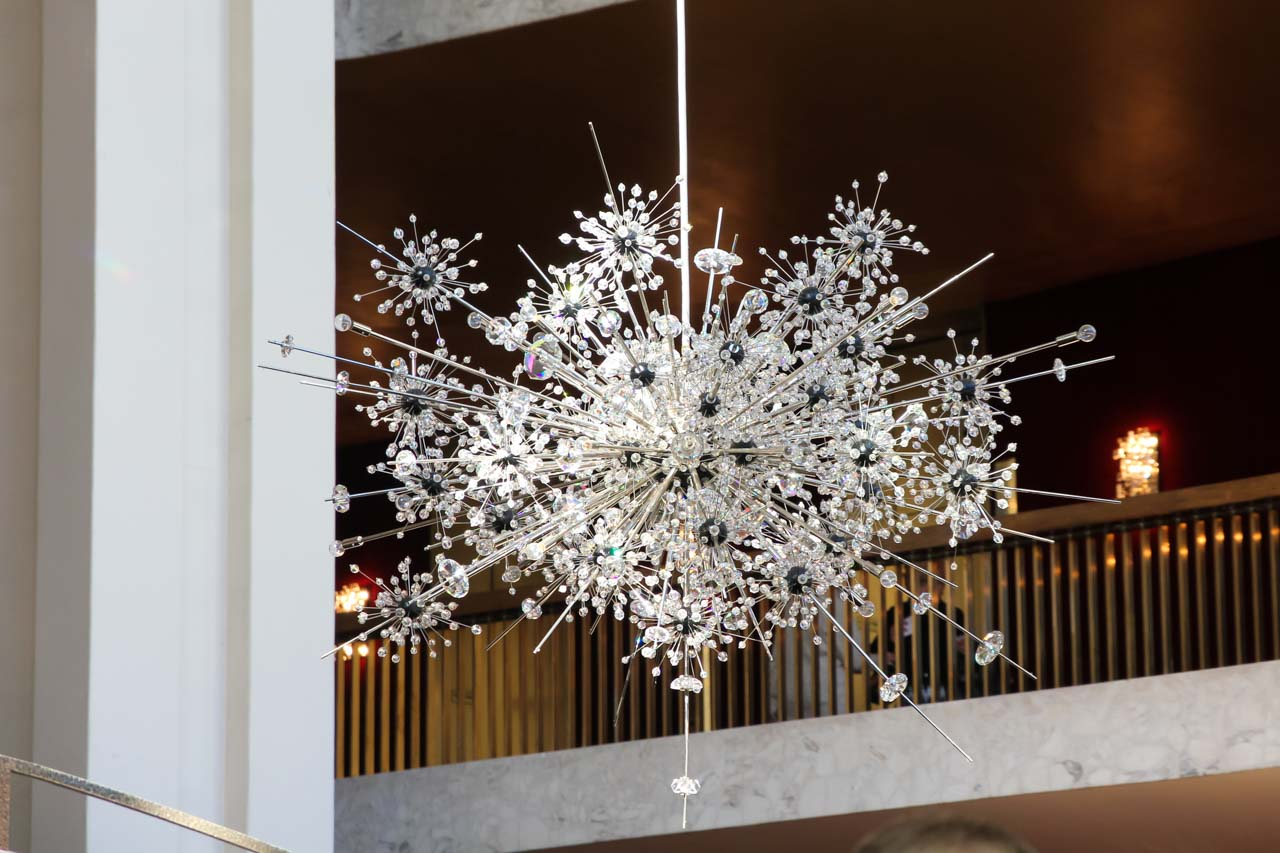 Close up of a crystal chandelier