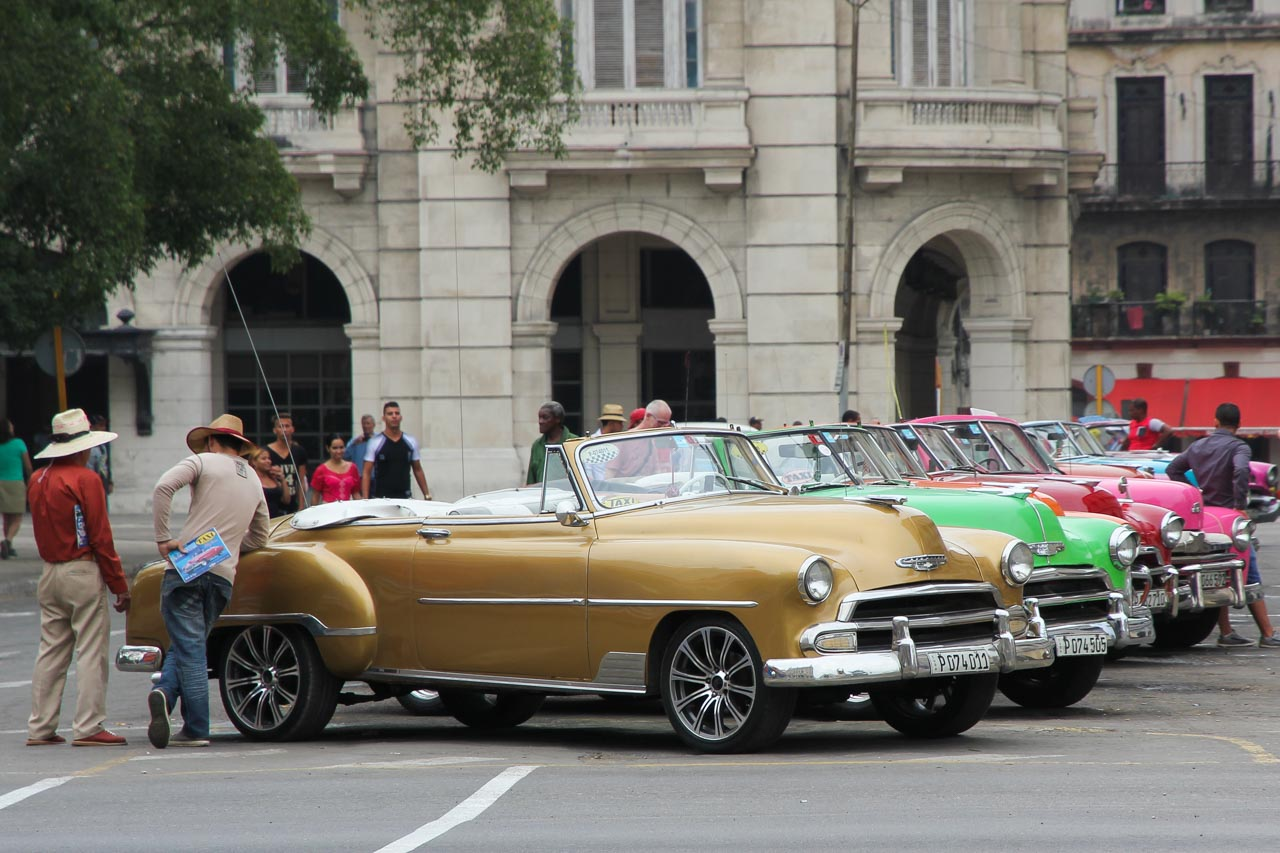 A line up of Classic American cars parked in Havana street