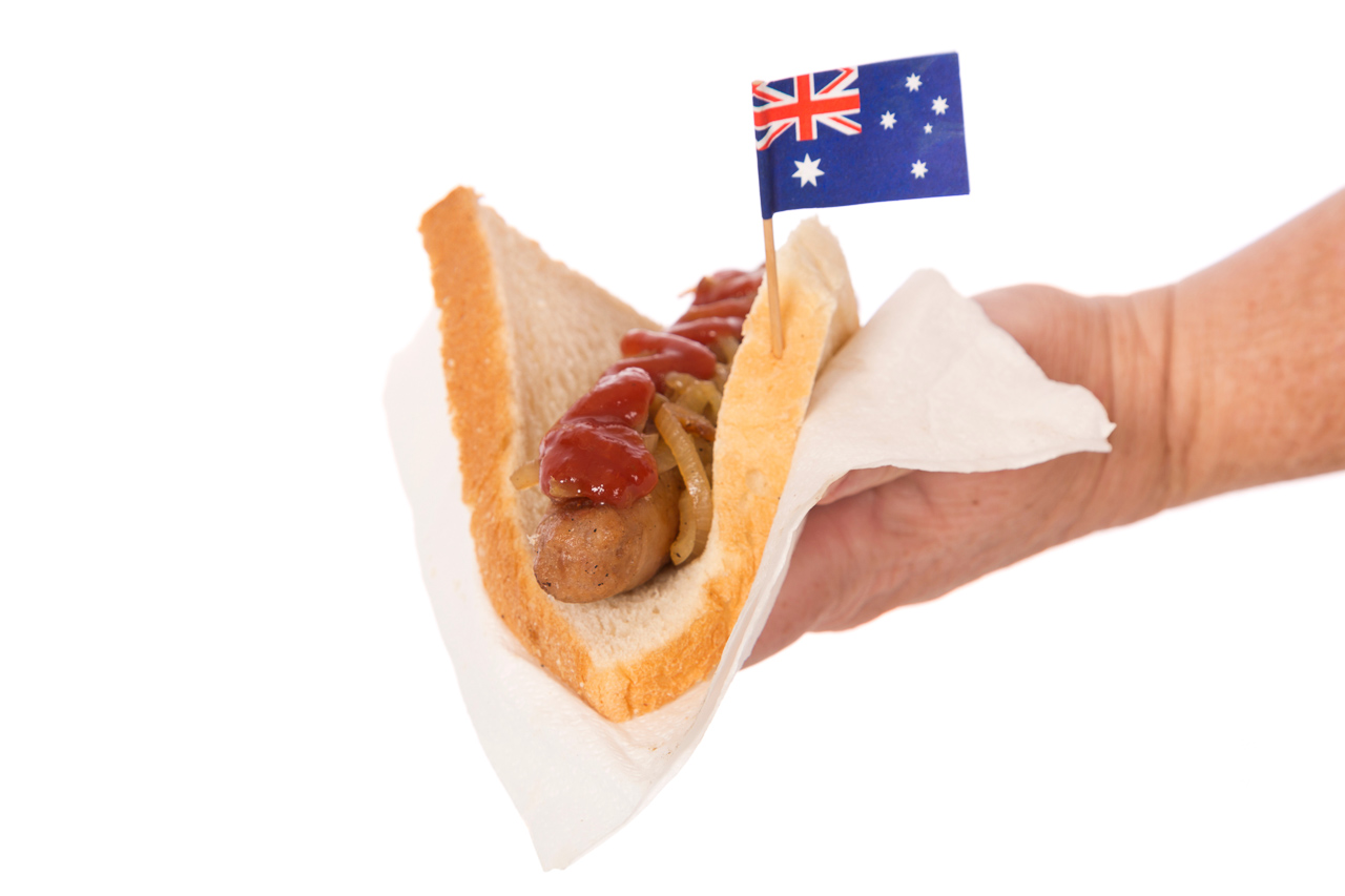 Sausage sizzle with miniature Australian flag