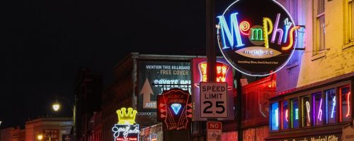 Neon signs of Beale Street, Memphis at night