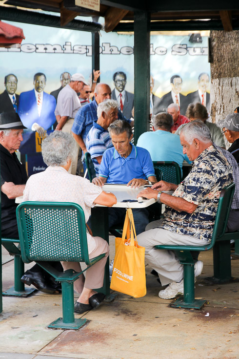 Cuban men playing dominoes in Calle Ocho