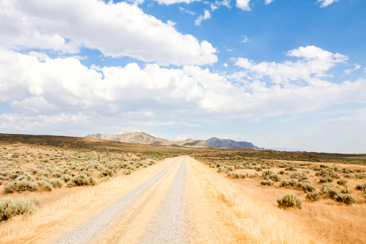 Dirt road leading to arid mountains in the distance