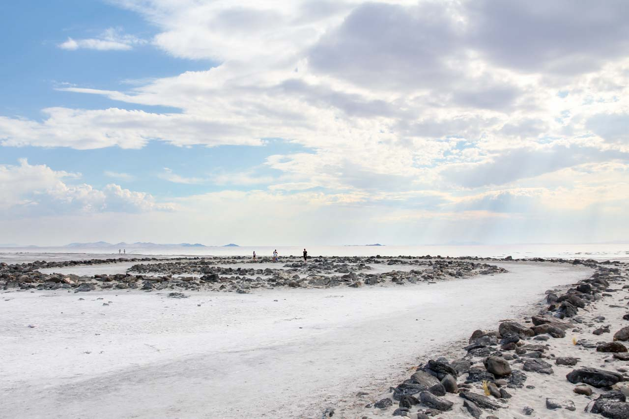 People exploring Spiral Jetty