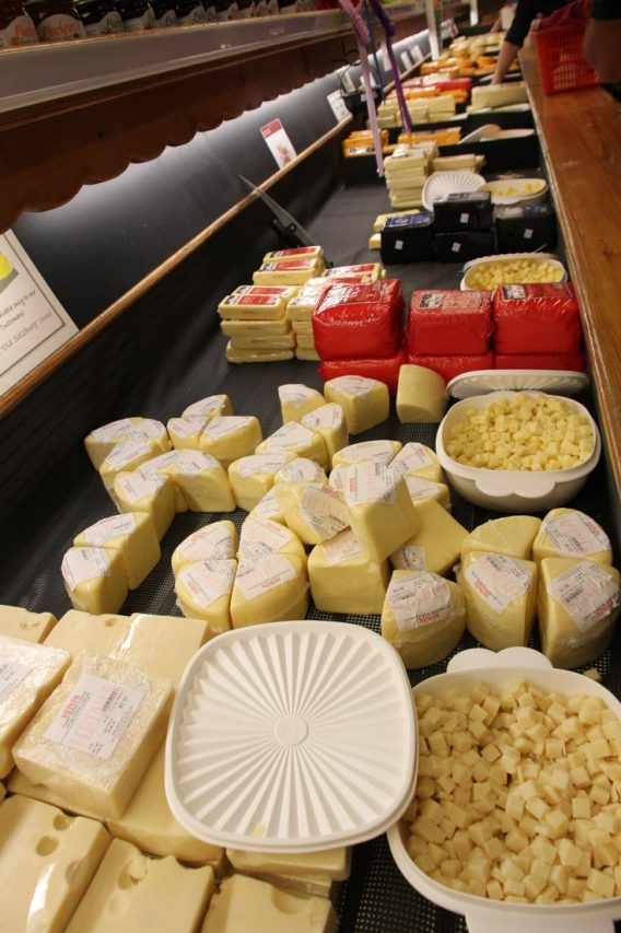 Cheese cabinet at Heini's Cheese Chalet, Millersburg, Ohio