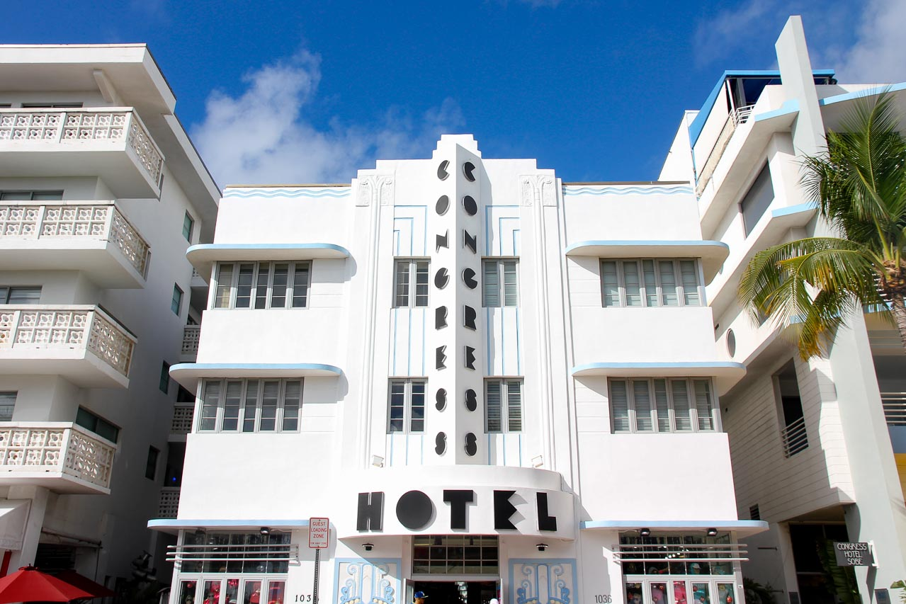 Front of art deco hotel with Congress Hotel written in geometrical black typeface