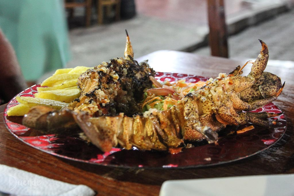 Eating seafood in the Galapagos Islands
