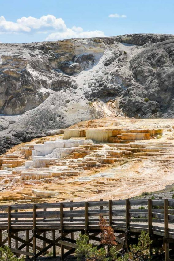 Travertine terraces at Mammoth Hot Springs with wooden boardwalk in foreground and blue sky in background.