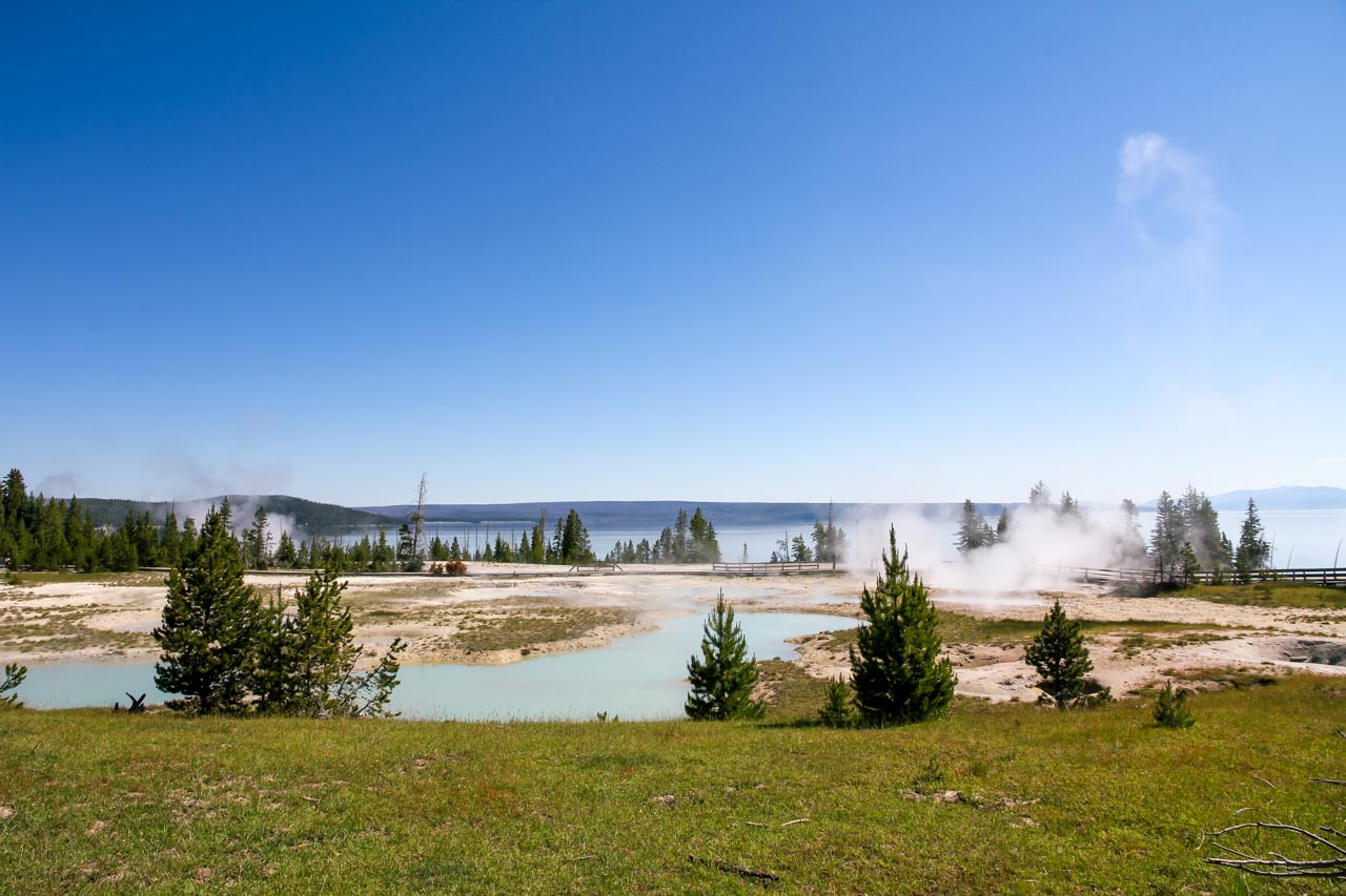 Geysers on the shores of Lake Yellowstone