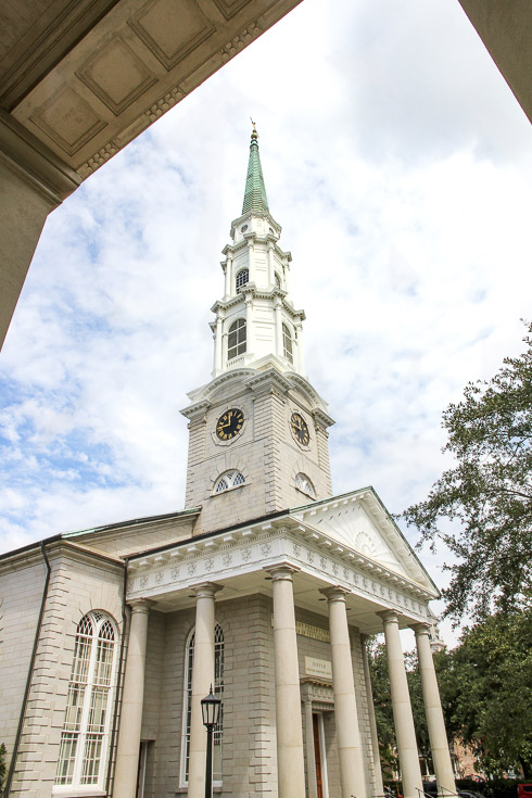 White church steeple and entrance