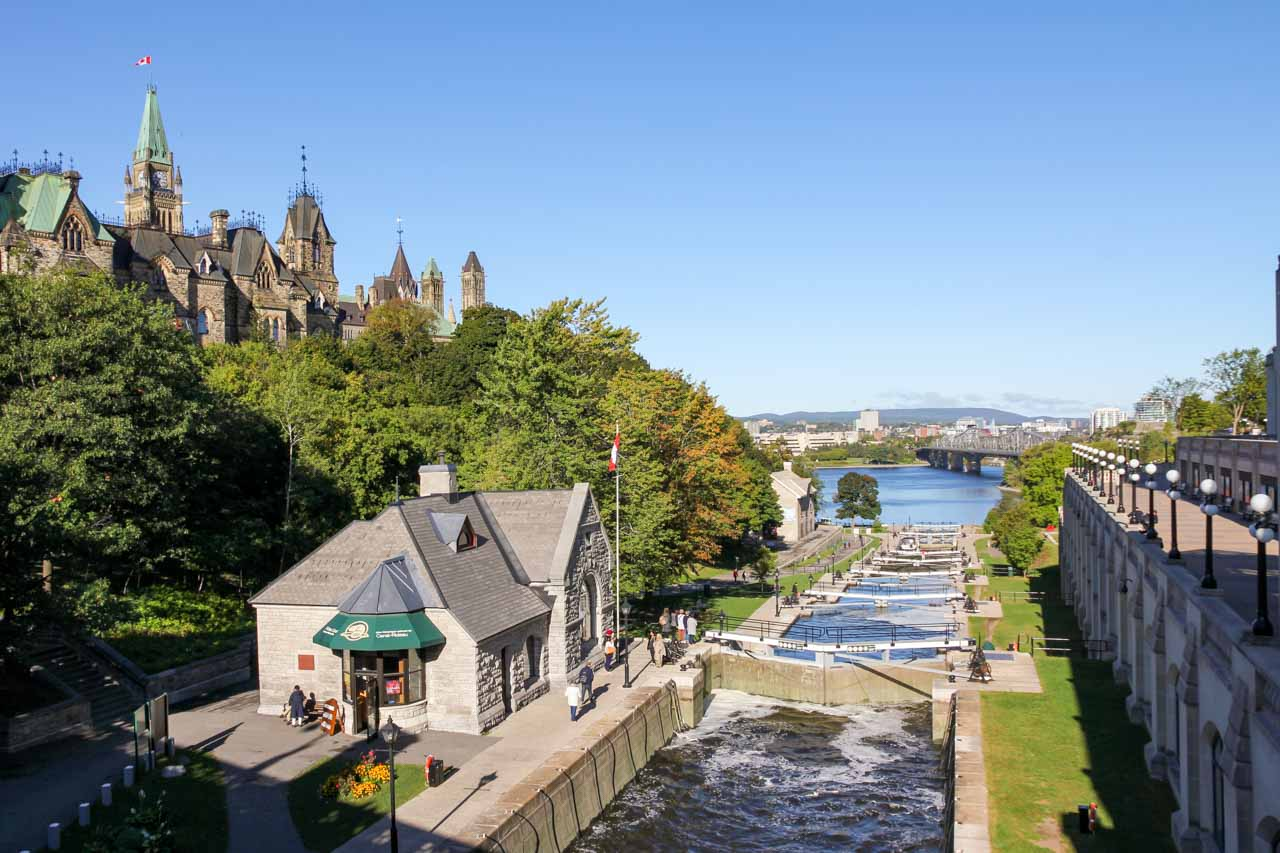Rideau Canal view to Ottawa River with Parliament Hill on left