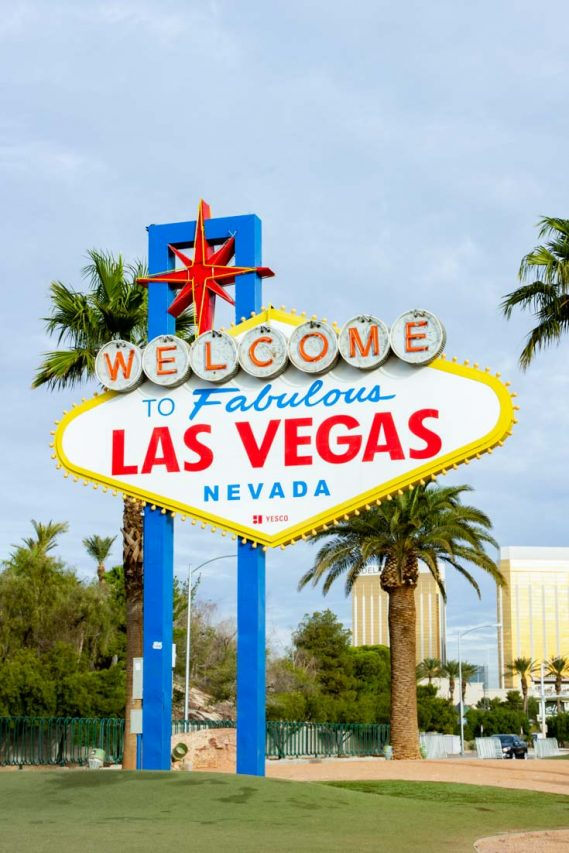 Welcome to Fabulous Las Vegas, Nevada sign with cloudy sky and palm trees in background