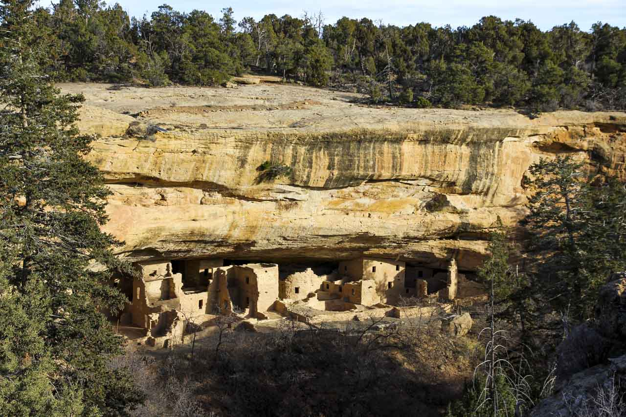 Ancient rock dwellings in cliffside at Mesa Verde