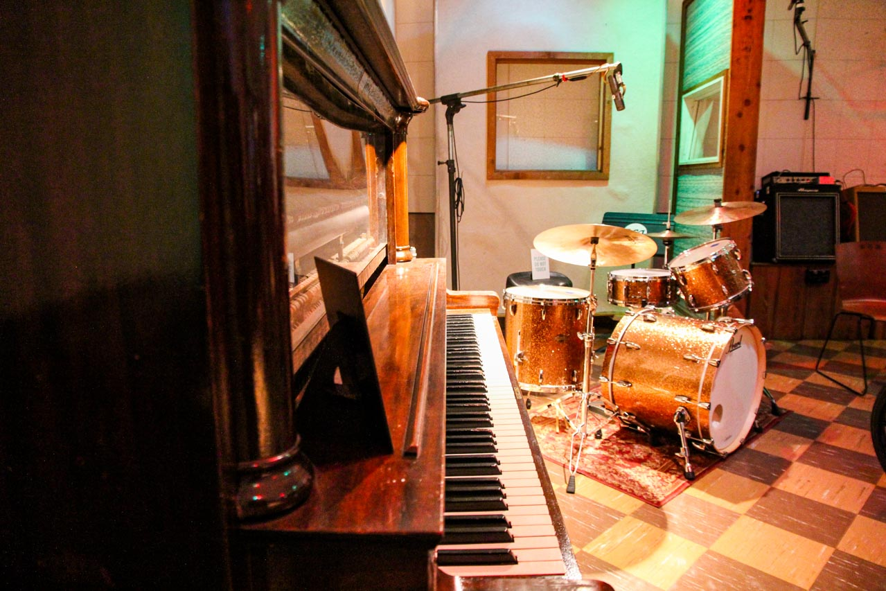 Piano and drum kit with microphones in RCA Studio-B, Nashville