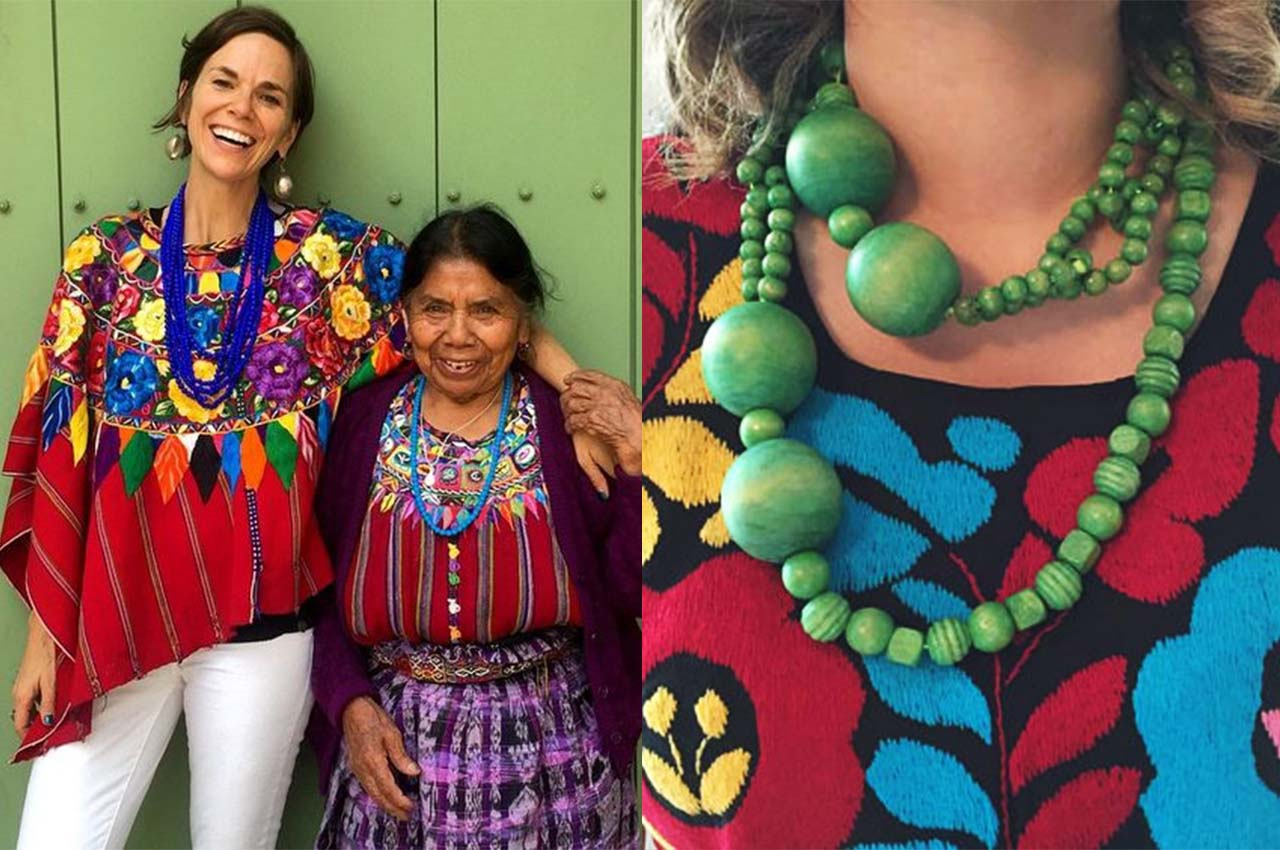 Women wearing huipils with chunky necklacesnecklaces