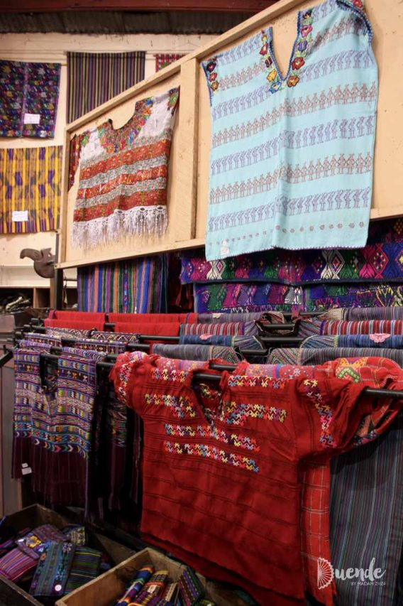 Huipils from different locations for sale in Antigua, Guatemala