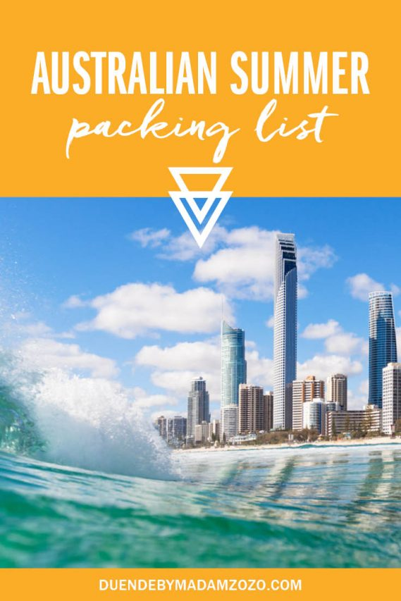 """View of Gold Coast highrise buildings from water with crashing wave in foreground and text overlay reading """"Australian Summer Packing List"""""""