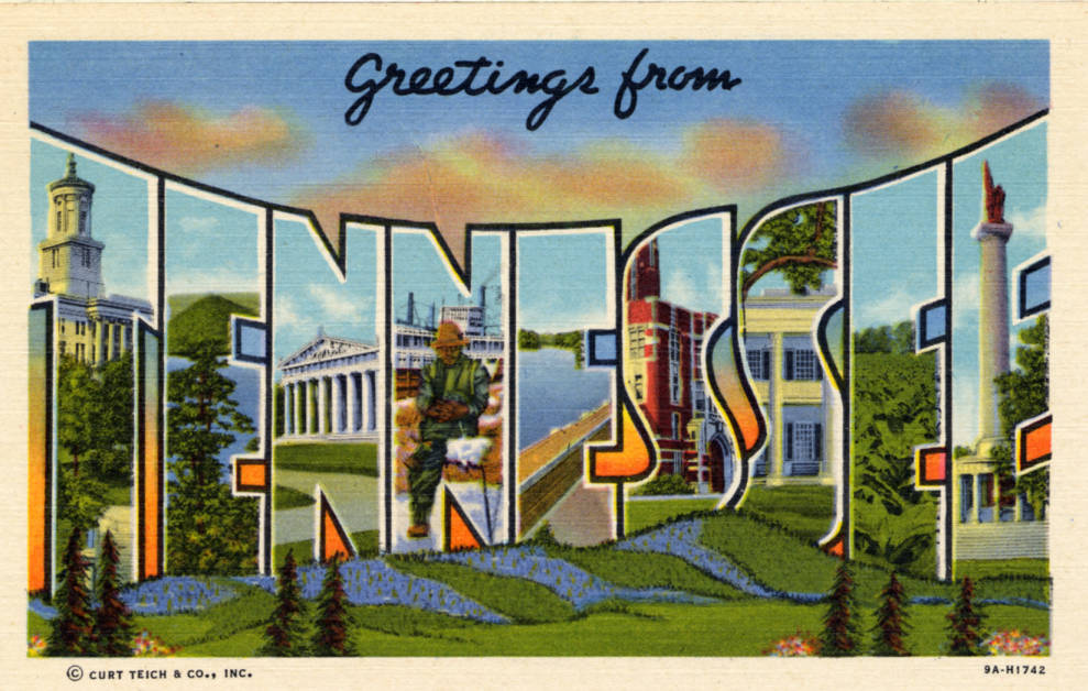 Curt Teich & Co.lLarge letter Tennessee postcard from 1939
