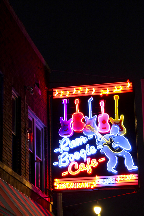 """Neon sign which reads """"Rum Boogie Cafe"""""""