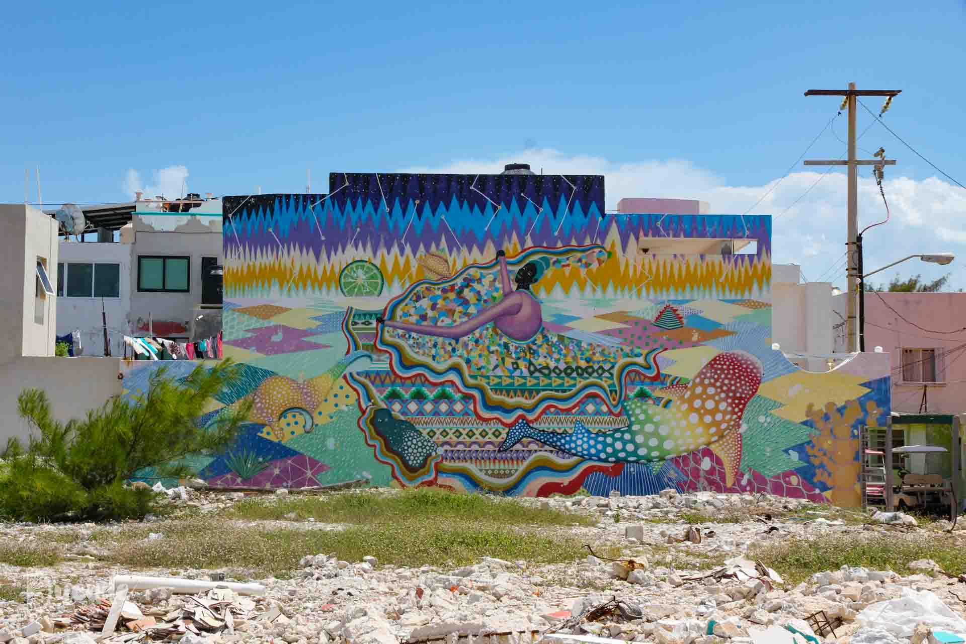 Seawalls mural by Aaron Glasson and Yoh Nagao
