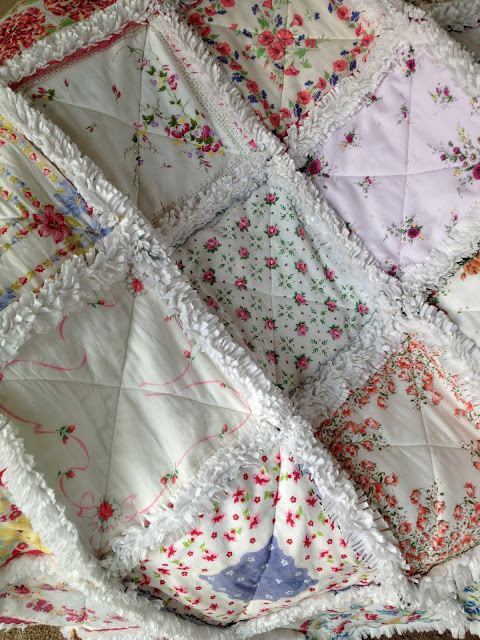 Rag quilt using vintage handkerchiefs