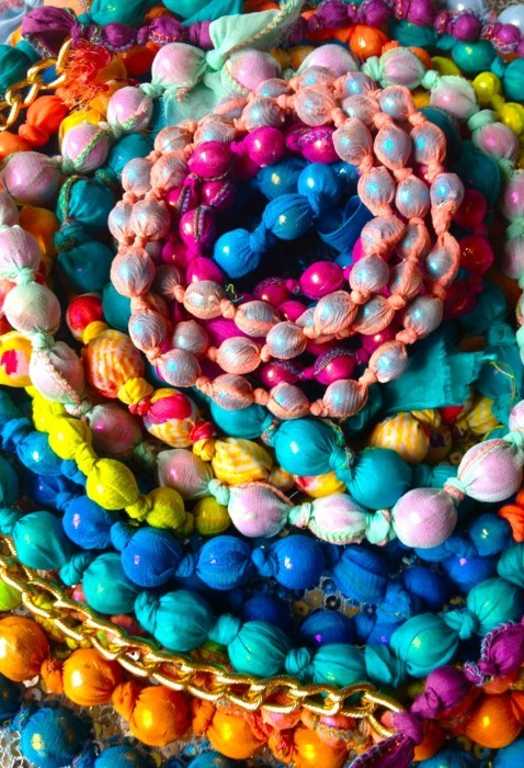 Mardi Gras beads and scrap fabric necklaces