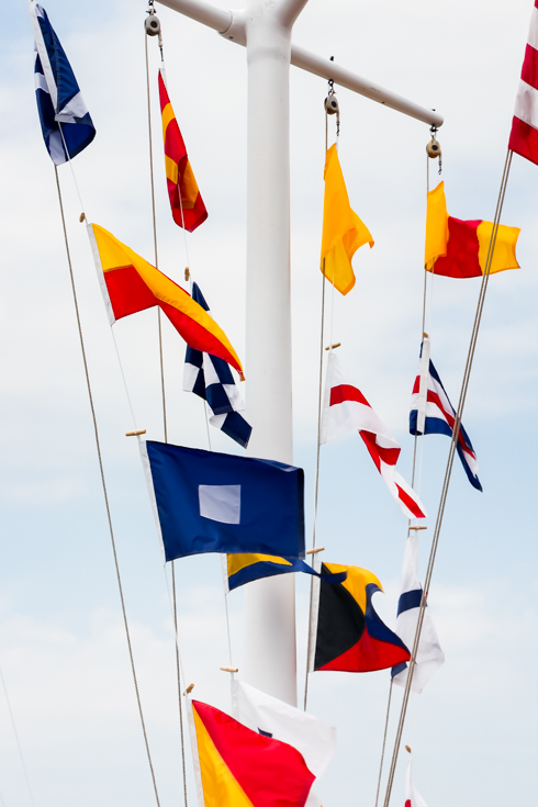 Nautical flags flying in the breeze