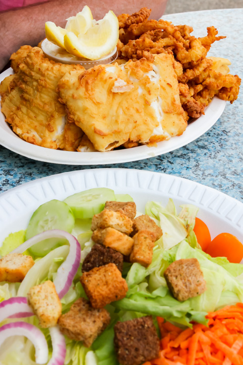 Fisherman's Platter for two and garden salad at Lobster Hut, Plymouth