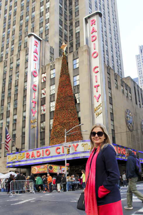Radio City Music Hall marquee with Christmas Tree