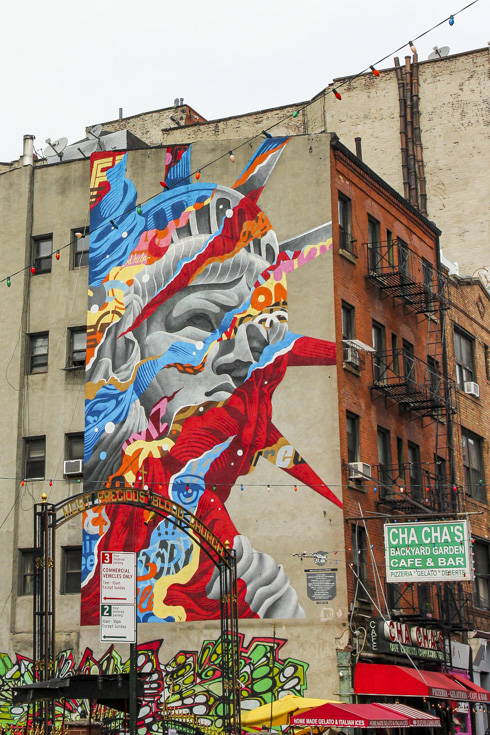 Tristan Eaton's Statue of Liberty in Little Italy