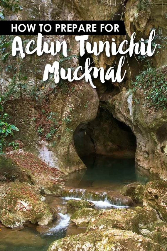 "Opening of cave surrounded by jungle with text overlay ""How to prepare for Actun Tunichil Mucknal"""