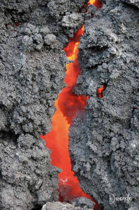 Molten lava underneath the solidified surface
