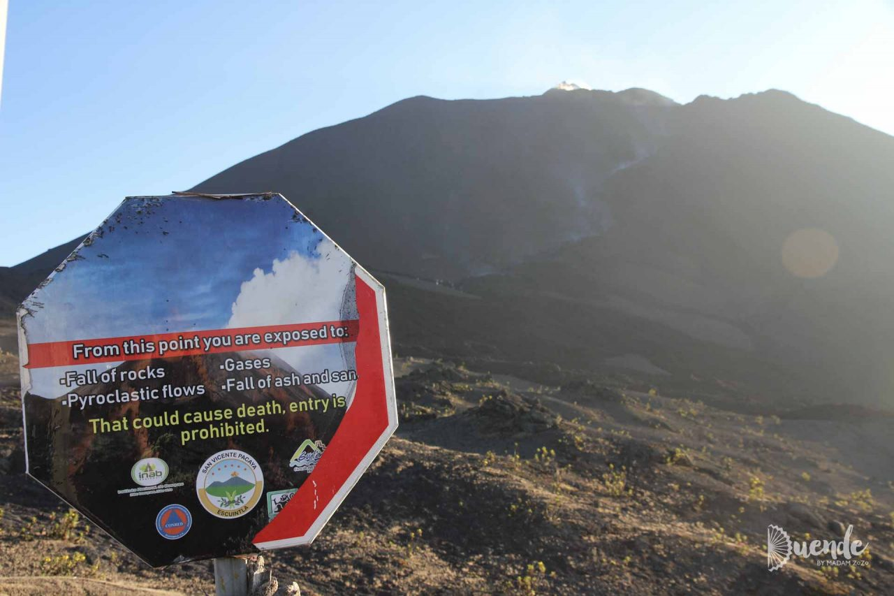 Warning sign as as we step out onto the lava field