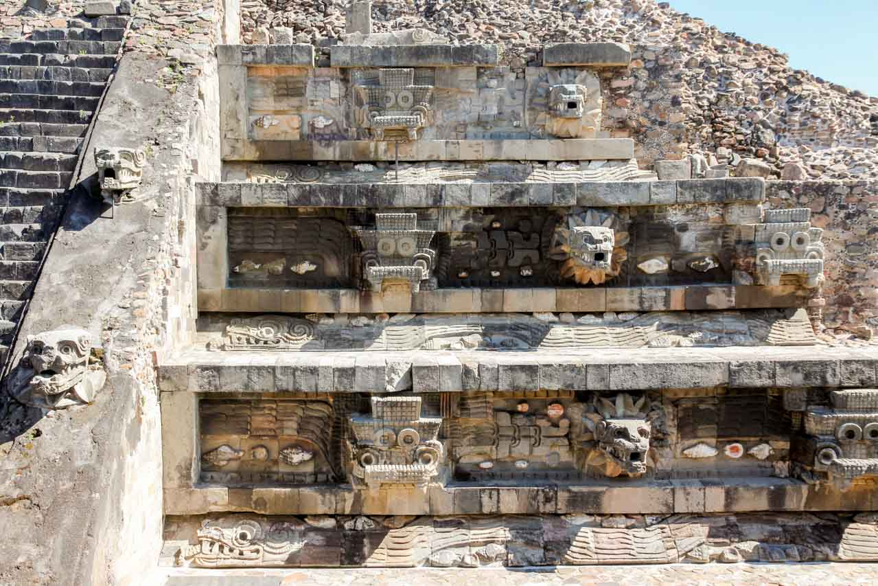 Sculptural details from the Temple of the Feathered Serpent