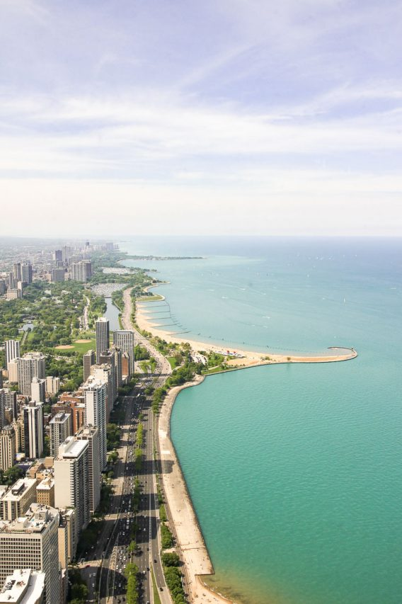 Image of Chicago and Lake Michigan from above from John Hancock Building