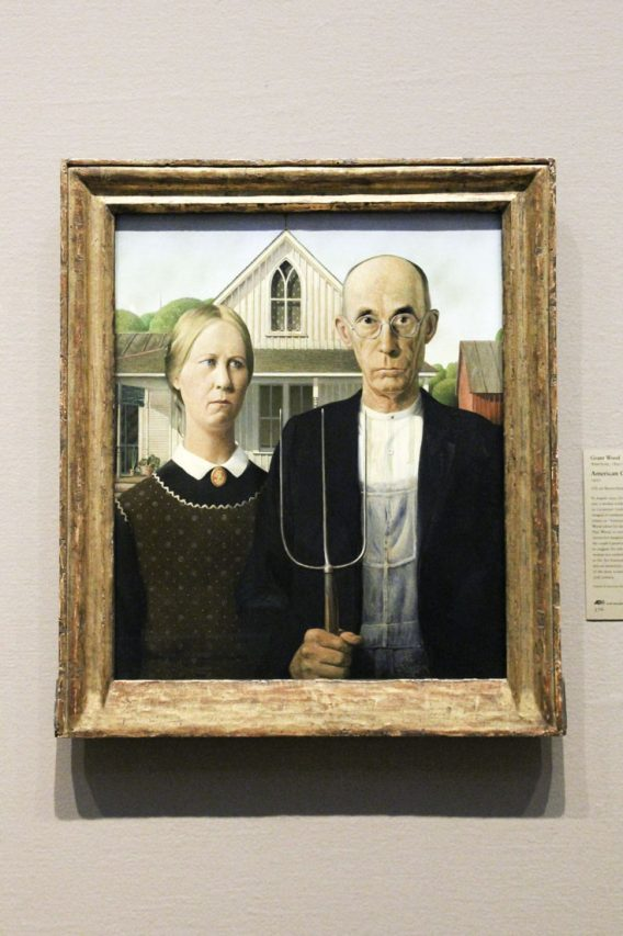 American Gothic painting hanging in museum