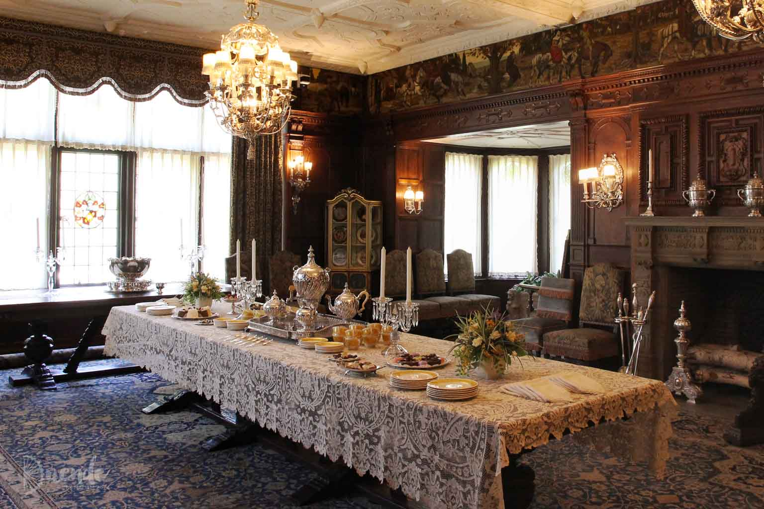 Formal dining room with large banquet table at the centre