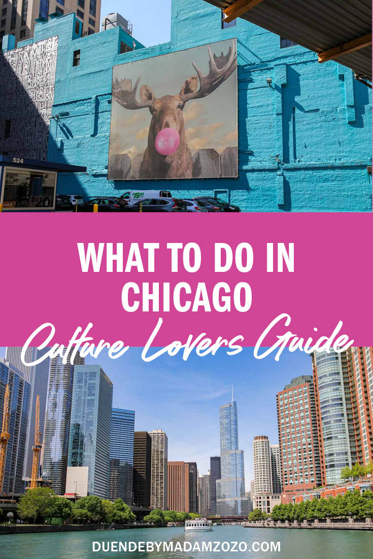 """Photos of Chicago street art and skline viewed from Lake Michigan with text overlay """"What to do in Chicago - Culture Lovers Guide"""""""