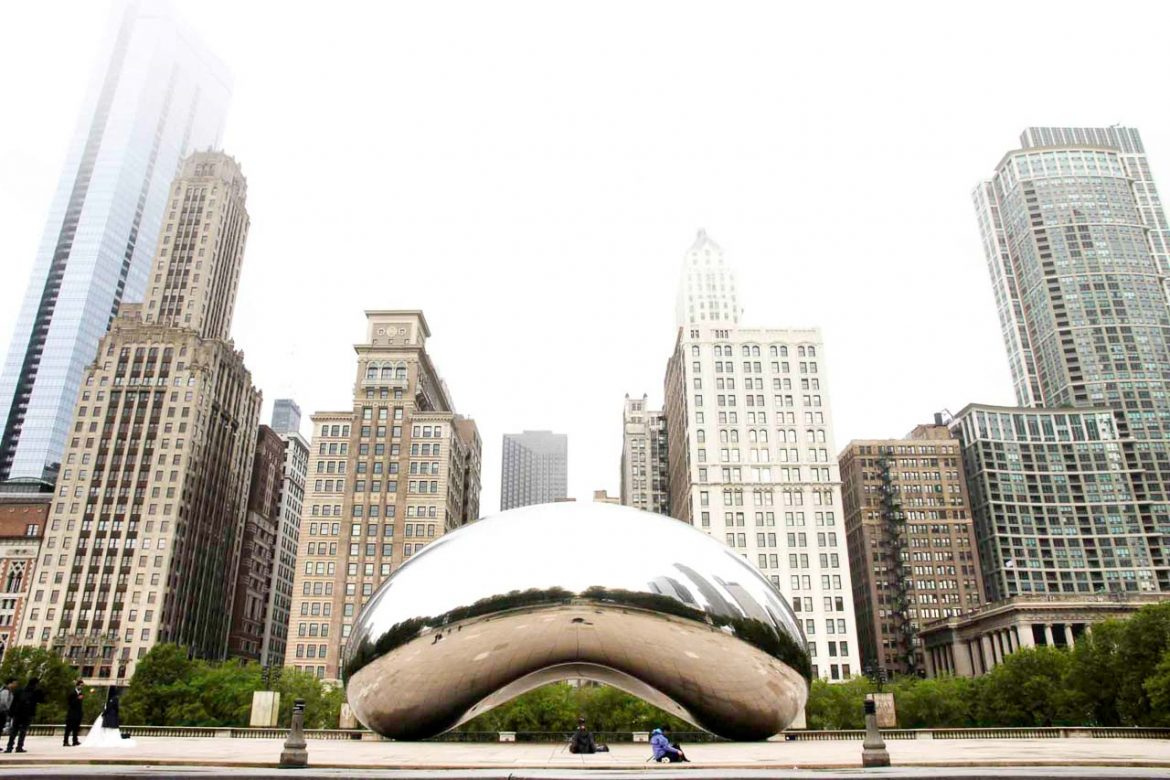 Public sculpture, Cloud Gate, with skyscrapers in background