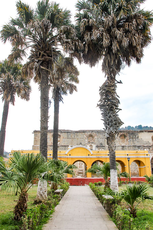 Photo of yellow structure with arched openings and large palms in the foreground