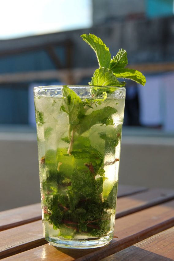 Mojito in tall glass with mint sprig on wooden table