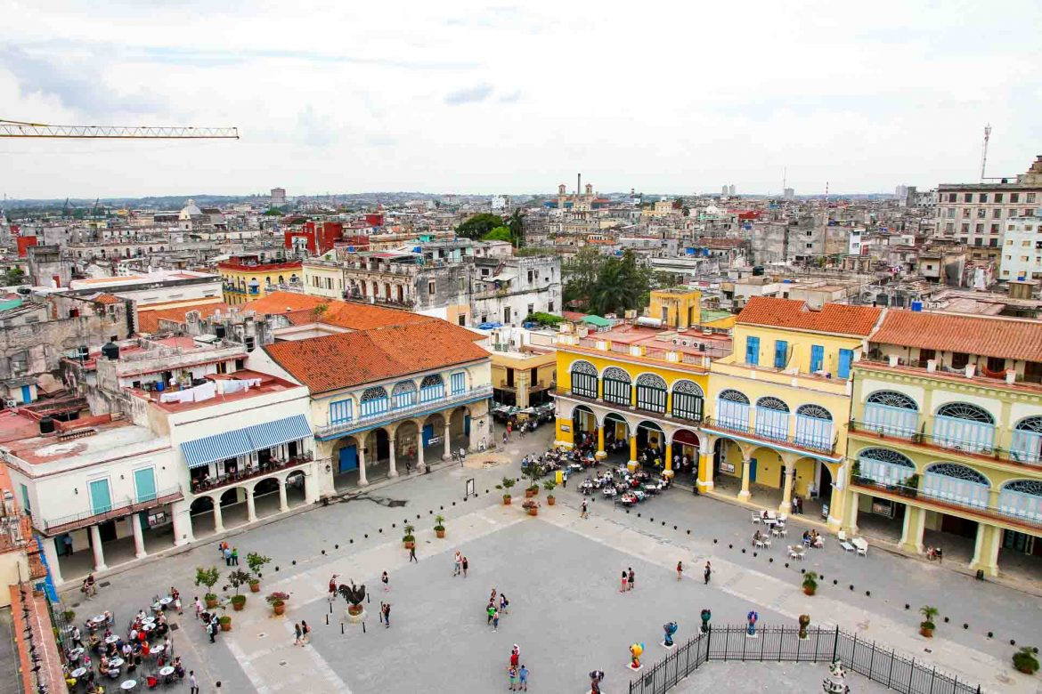 Large Spanish colonial buildings around a plaza, viewed from above