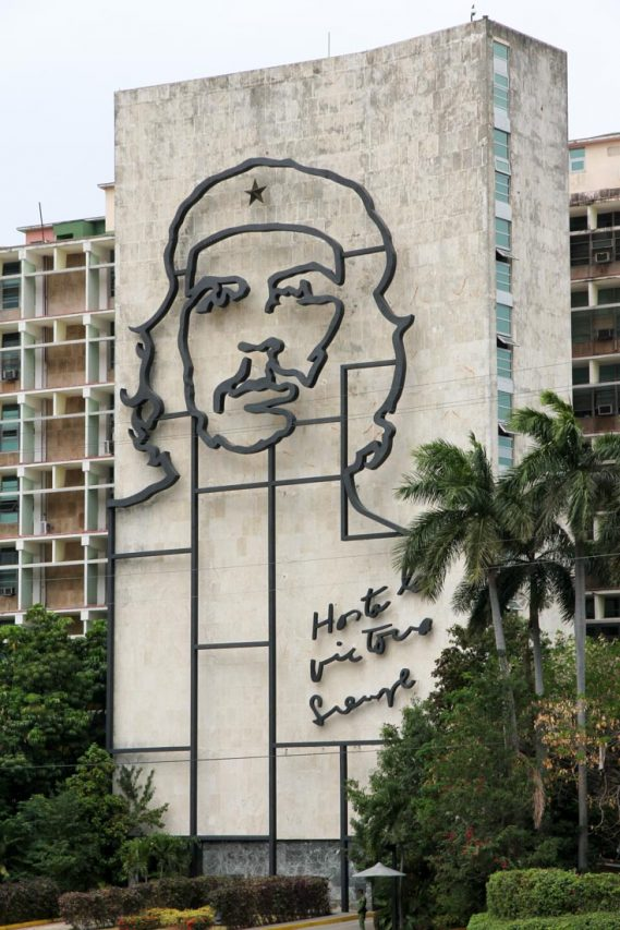 Concrete building with metal outline of Che Guevara's face