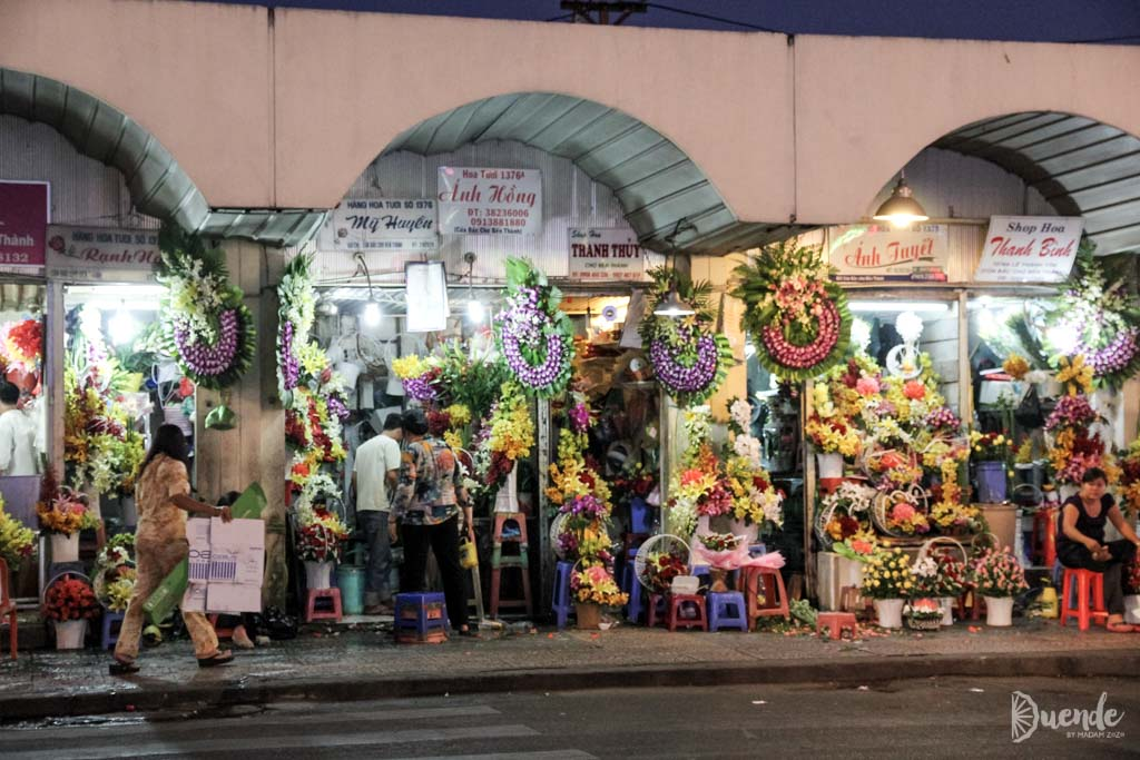 Flowers for sale outside Ben Thanh Market