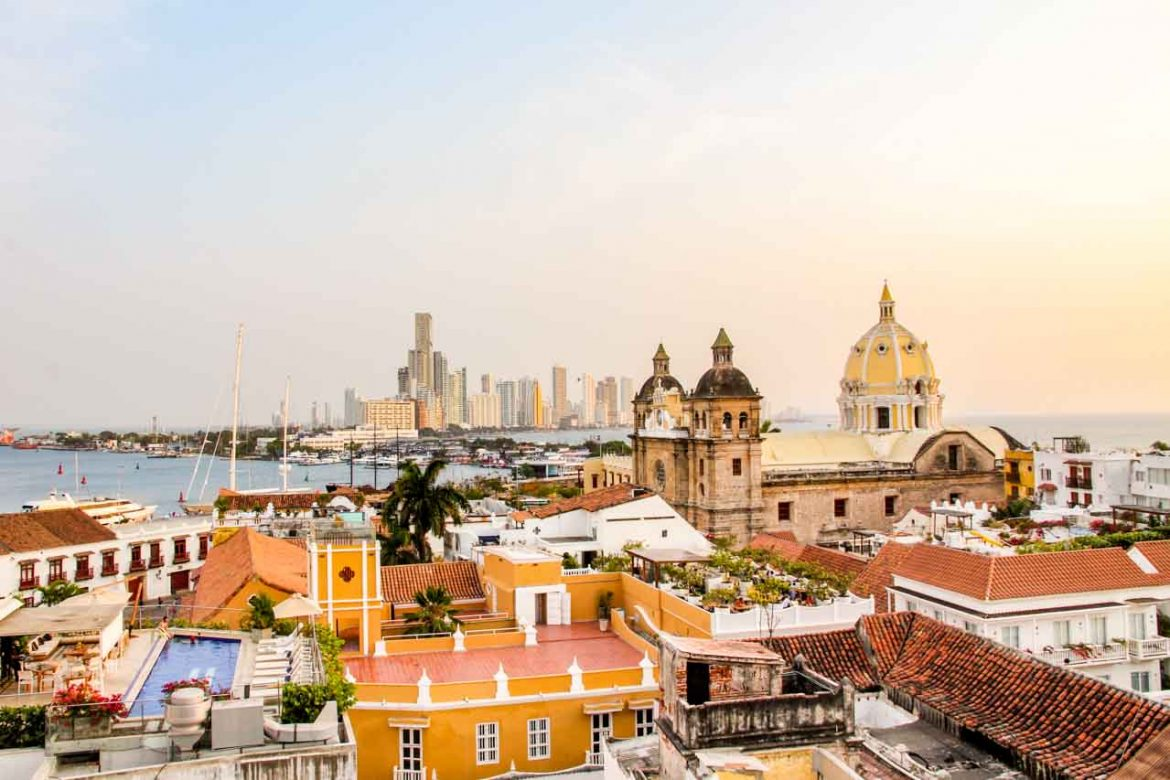 View across the walled city of Cartagena to the skyscrapers of Bocagrande