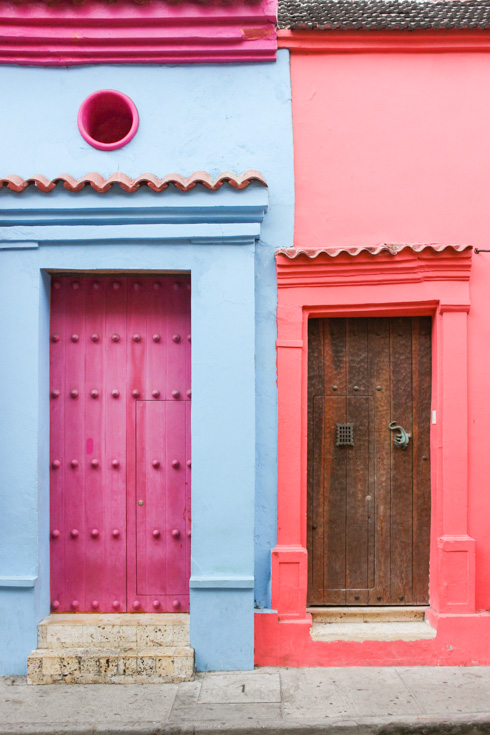 Pair of colourful doors in pink and blue